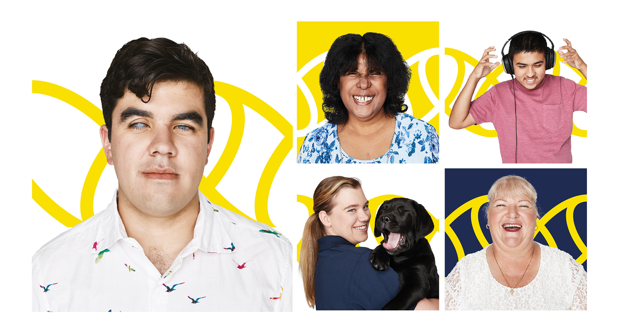 Collage of 5 photos, including Jayna and Amish, Vision Australia clients, Debra - volunteer and Brit - staff member holding a black Labrador puppy.